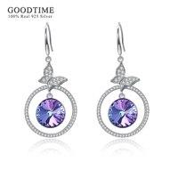 Earrings 925 Sterling Silver Jewelry Butterfly Dangle Earrings Women Girls Romantic Purple & Green Crystal Drop Earrings Jewelry