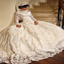 Vestidos De Novia Vintage Arabic Hijab Muslim Wedding Dress High Neck Lace Long Sleeves Plus Size Ball Gown Bridal Gowns