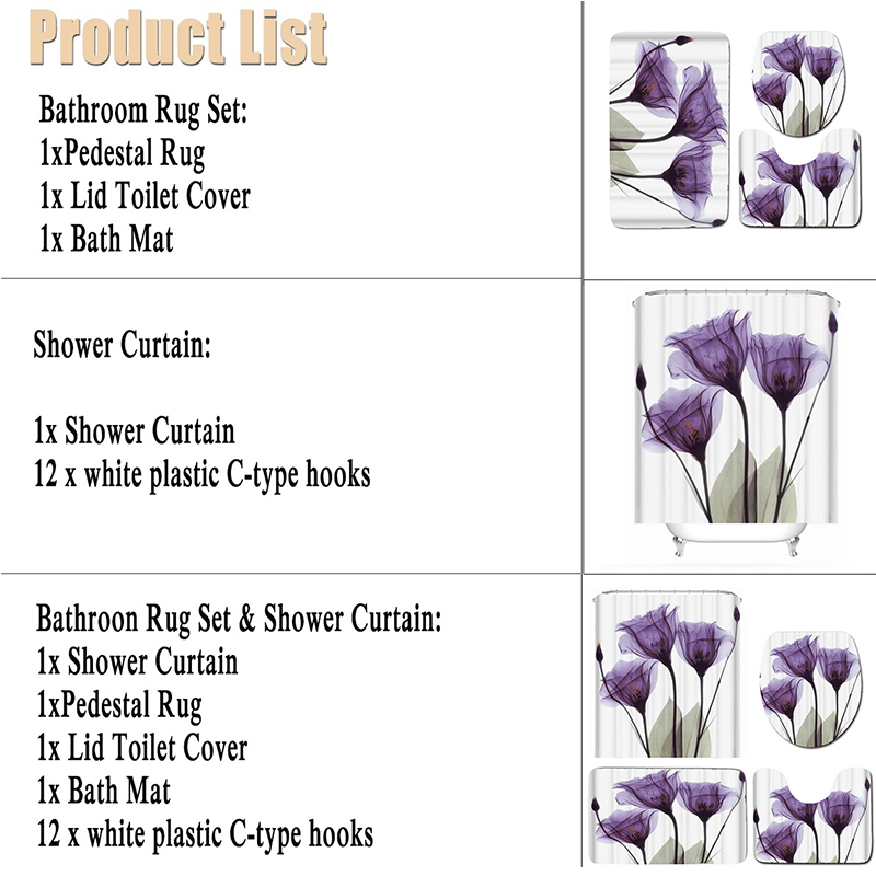 LANGRIA 4pcs Flower Print Bathroom Shower Curtain Set With Flannel Fabric For Bathroom And Toilet Windows 5