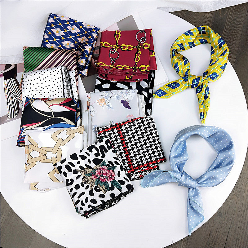 Female Square Scarves Cotton Silk Leopard Dots Geometric Printing Headband Red White Bandana Women Handkerchief Hair Band Scarf