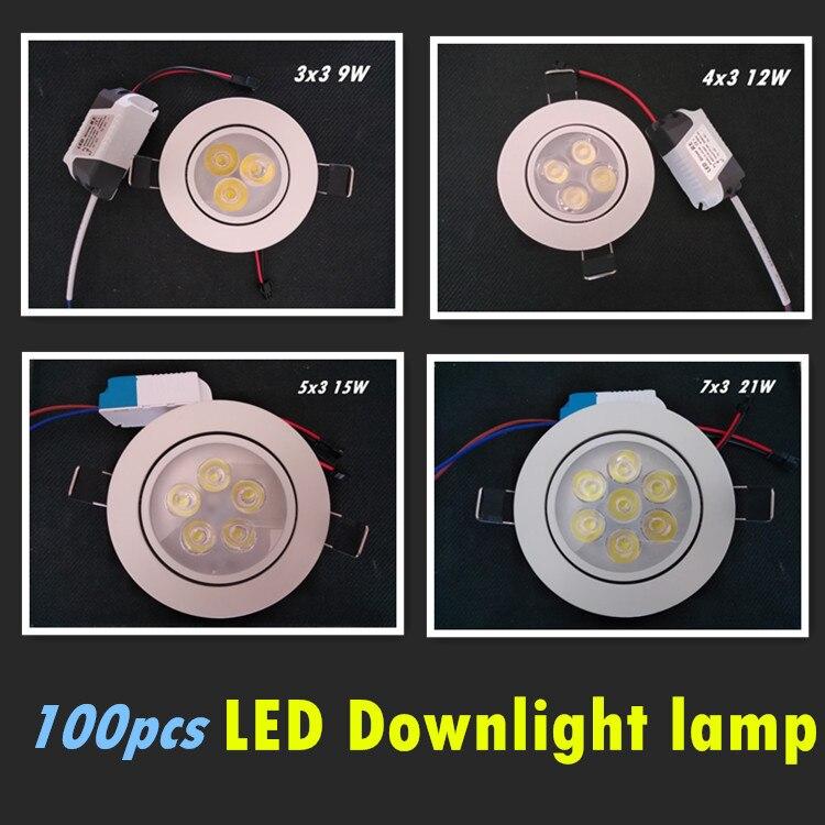 100x затемнения светодиодный светильник потолочный пятно света 9 Вт 12 Вт 15 Вт 21 Вт 85-265 В потолочные встраиваемые Освещение в помещении