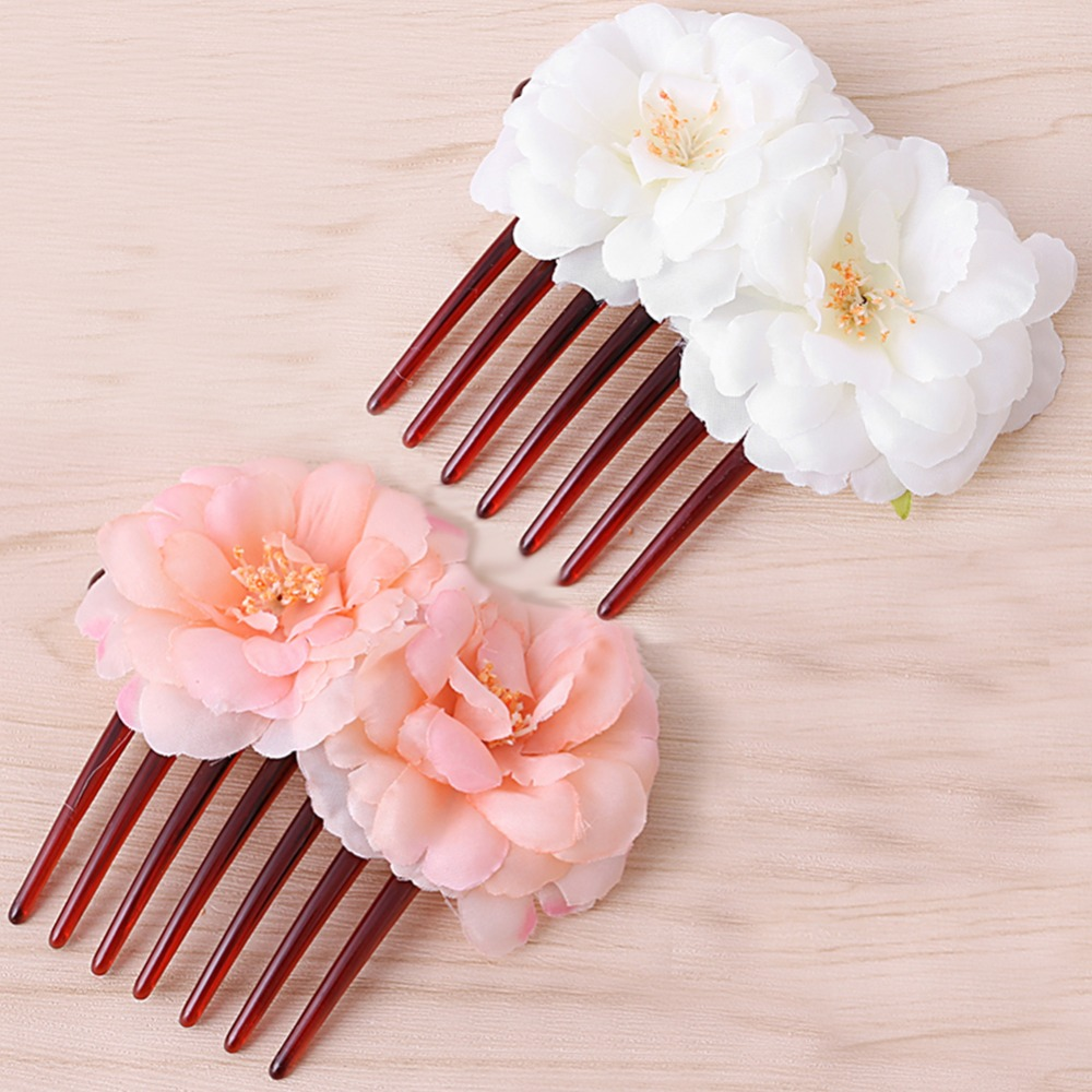 Double Silk Pink Rose Flower Fabric Hair Combs Beachy Hair Clip In