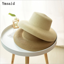 Ymsaid Women Sun Hat Wide Brim Summer Straw Hat 2019 New Natural Black fashion Foldable Beach Boater Hat Cap Kentucky Derby Hats
