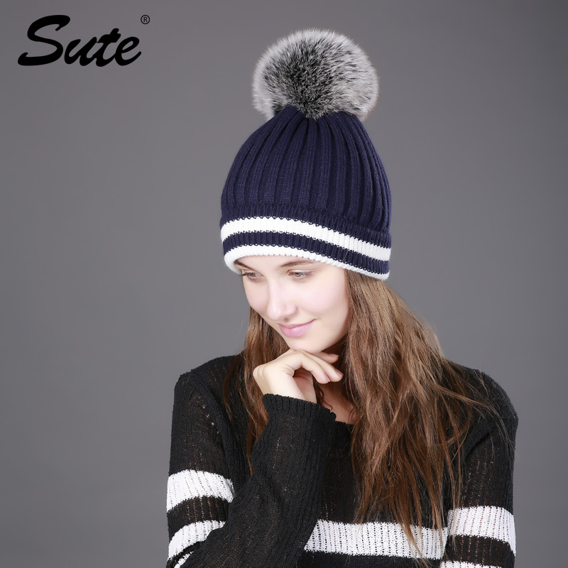 Sute Women winter hat Knitted wool female beanies Genuine fur Pompom cap Fashion thick warm hats for POM POMS fur girl 2017 new high quality real fur ball pompom winter hat for women wool hat knitted cotton beanies cap brand new thick female hat