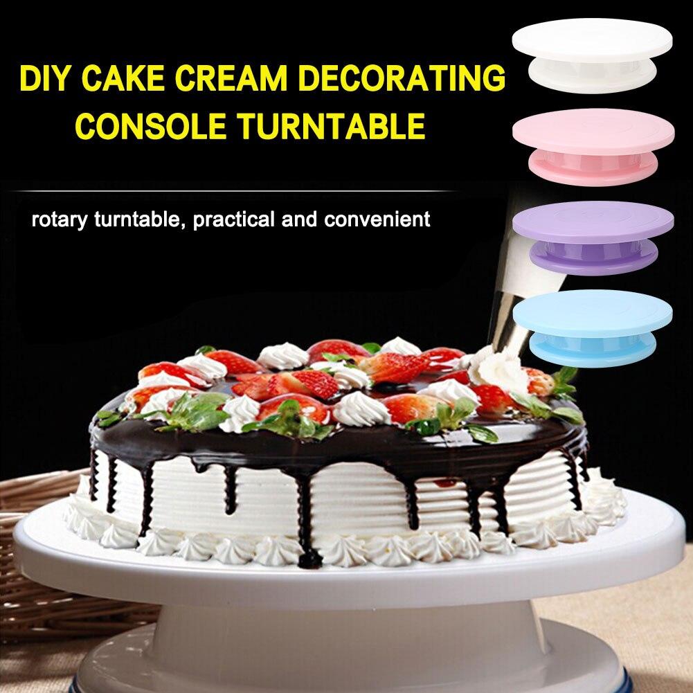 Beschouwend Cake Revolving Stand Fondant Accessoires Decoreren Plastic Kwartelplaat Duurzaam Modelling Gereedschap Diy Platform Gebruiksvoorwerp Draaitafel