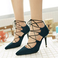 Plus Size 34-47 New 2016 Women Pumps Sexy Pointed Toe High Heels Lace UP Fashion Women Wedding Shoes Pointed Toe Dress Shoes