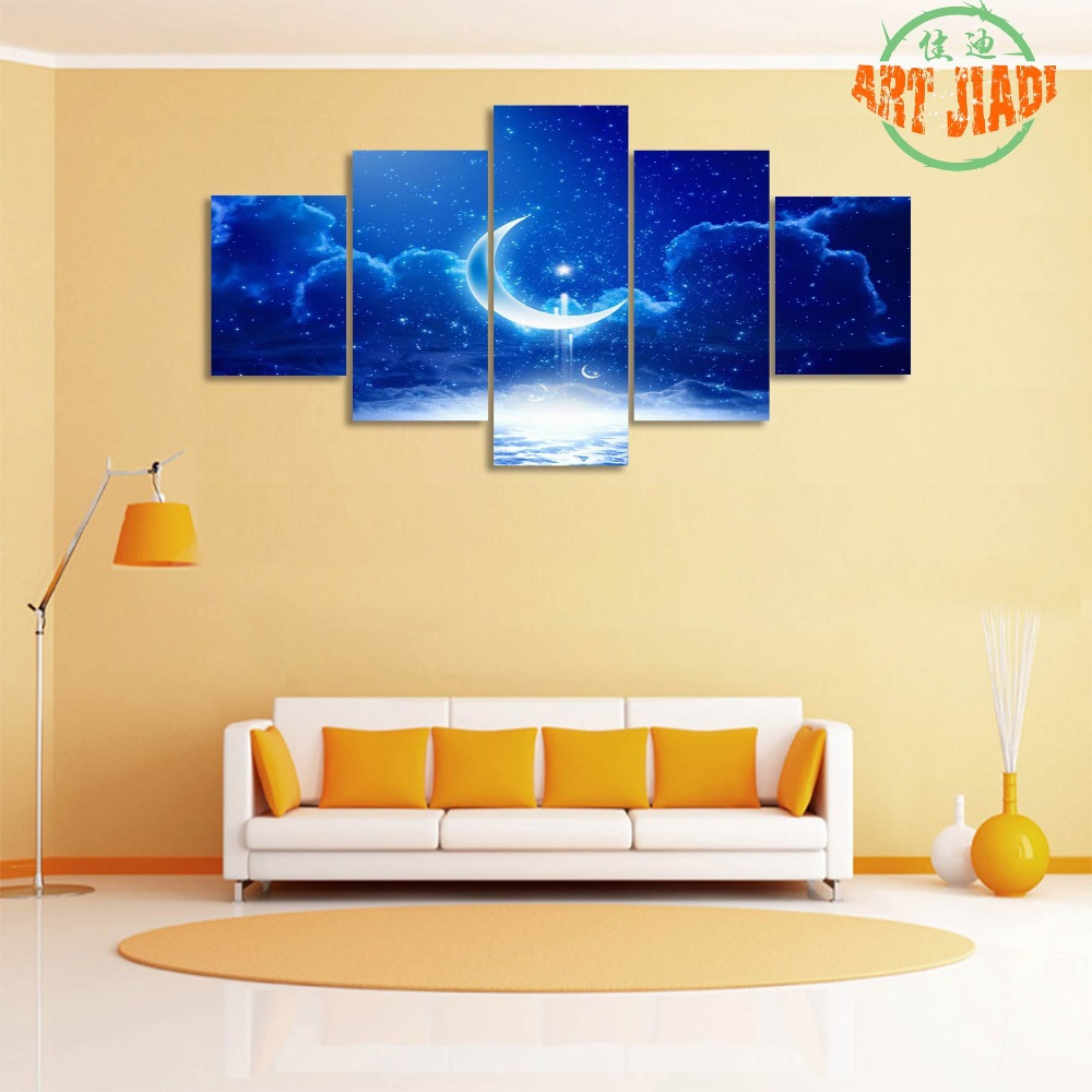 5 piece canvas art New Sale Time limited No Oil Dream Moon Partly ...