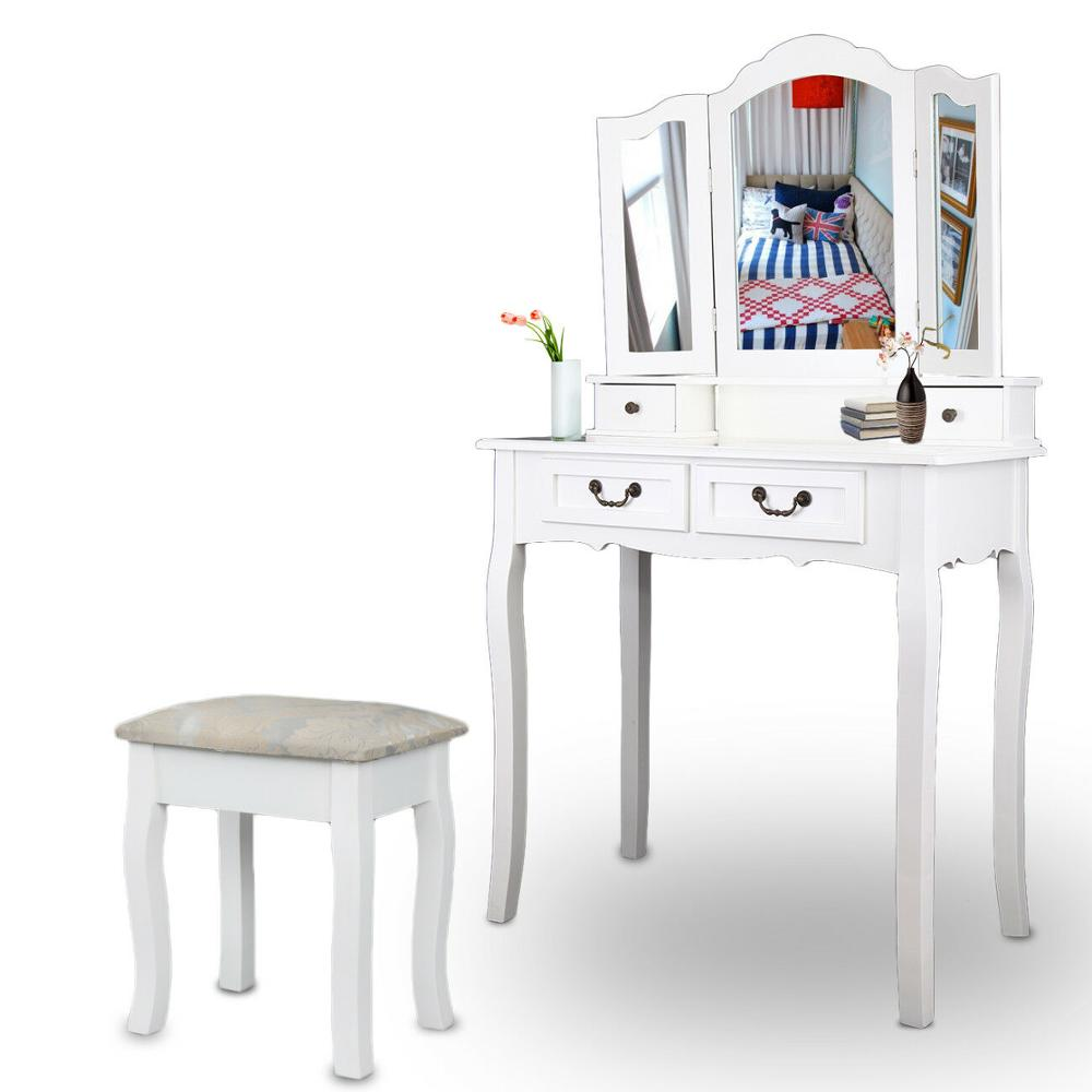 Dressing Table 4 Drawer Stool Mirror White Bedroom Make-up Table