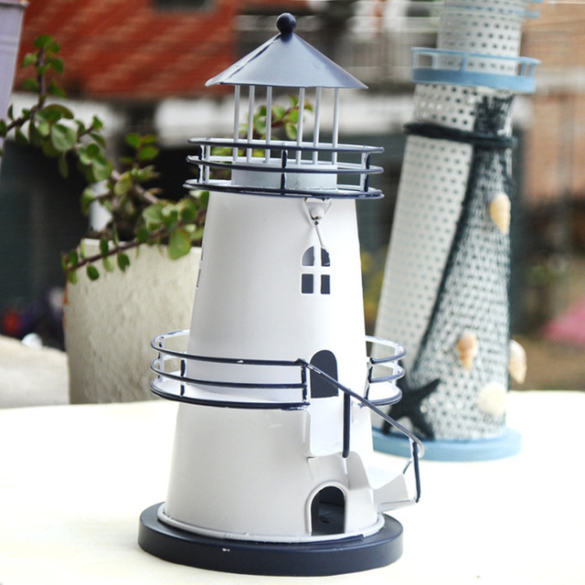Mediterranean Style Lighthouse Candlestick Craft Light Tower Candle ...