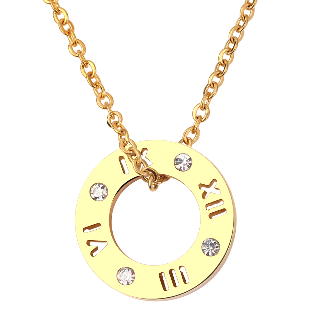Fashion Three Color Jewelry 316L Stainless Steel Crystal Necklace Letter Pendant Necklace for Women