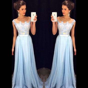 Vestido De Noche Woman Top Lace Prom Gown Scoop Neck Floor Length Chiffon Elegant Wedding Party Dress