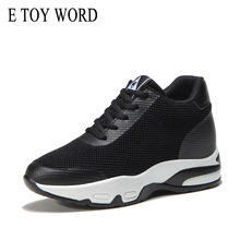 E TOY WORD Women Sneakers basket femme Internal Increase Shoes Platform Breathable Mesh air cushion wedge
