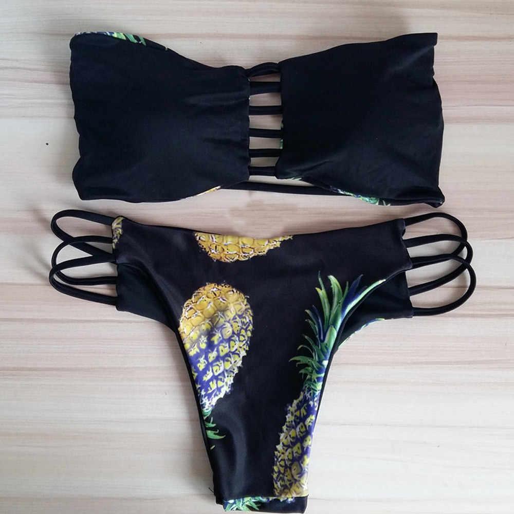 مثير بيكيني ملابس السباحة النسائية لباس سباحة 2019 ملابس النساء مجموعة البكيني مثير البرازيلي الأناناس ملابس السباحة دفع ما يصل ملابس السباحة