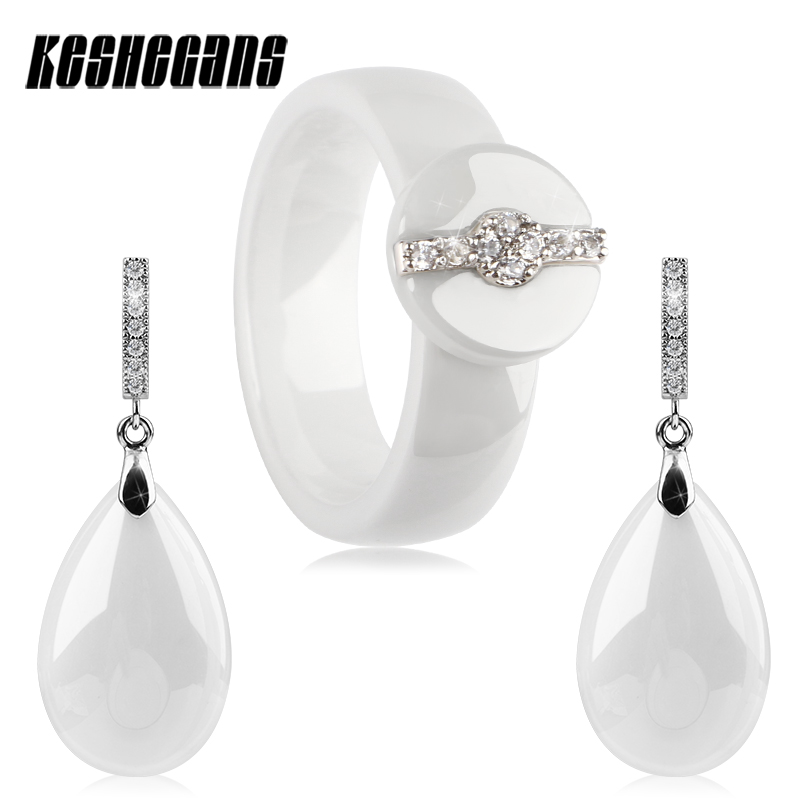 Pure White Ceramic Women Jewelry Set Smooth Solid Water Drop Earrings And Round Crystal 6MM Rings Wedding Jewelry For Women Gift