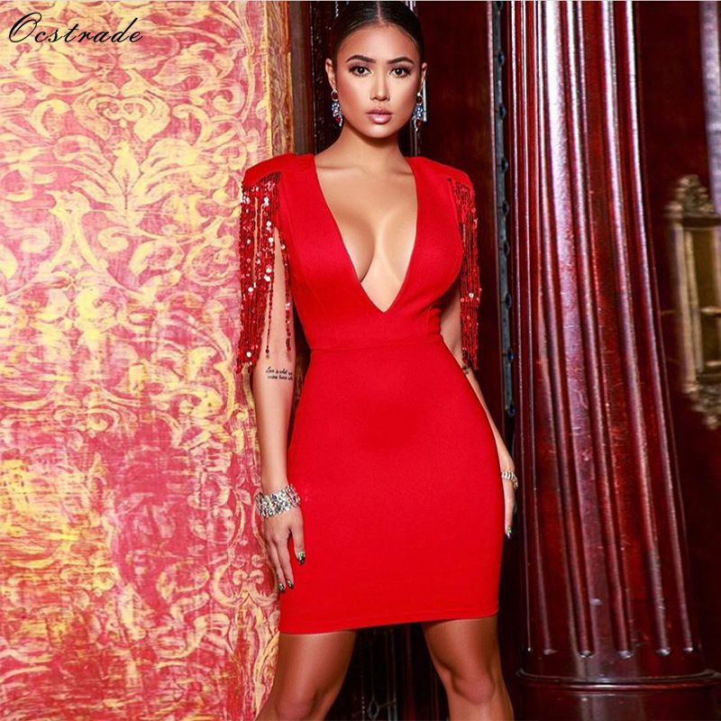 Ocstrade Summer Fashion 2019 Fringe Sequins Dresses Night Club Women Sexy Red Bandage Dress Bodycon Deep
