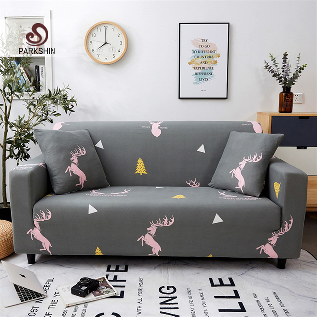 Parkshin Fashion Deer Gray Slipcovers Sofa Cover All inclusive Sectional Elastic Full Couch Cover Sofa Towel 1/2/3/4 Seater
