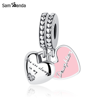 Authentic 100 925 Sterling Silver Bead Charm Mother Daughter Hearts Pink Enamel Charms Fit Pandora Bracelets