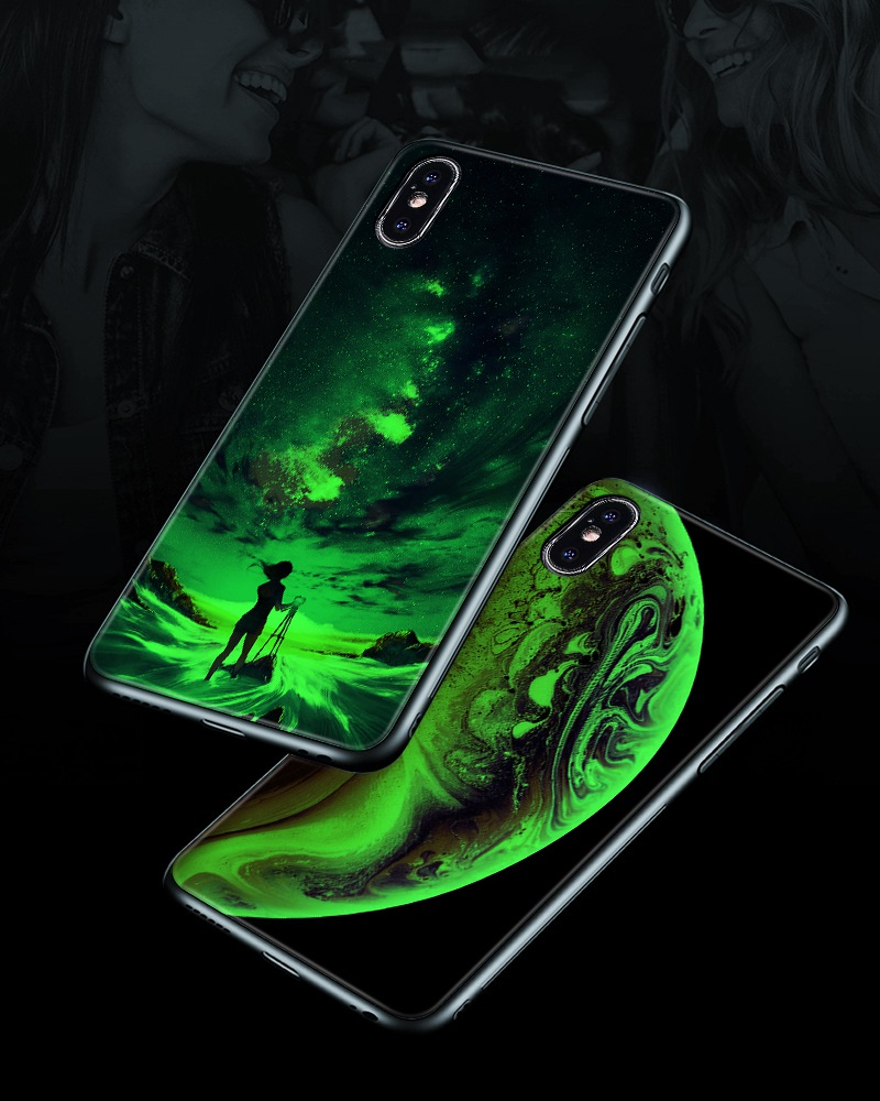 TOMKAS Luminous Starry Luxury Case for iPhone X Xs Max Xr Glass Phone Cover Christmas Silicone Case for iPhone 7 8 6 S 6s Plus (6)