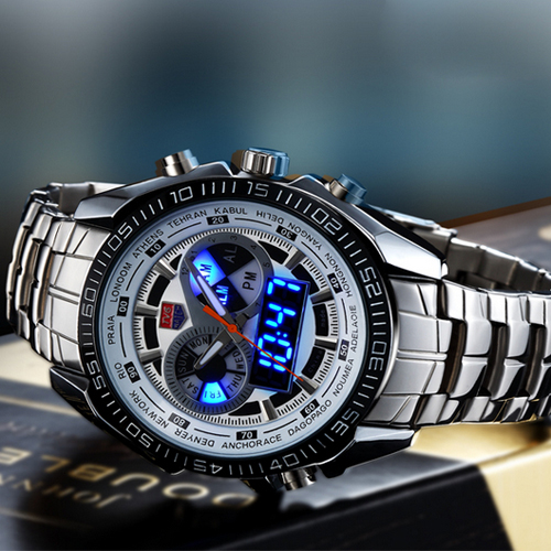 Hot TVG Male Sports Watch Men Full Stainless Steel Vattentät Quartz - Herrklockor - Foto 3
