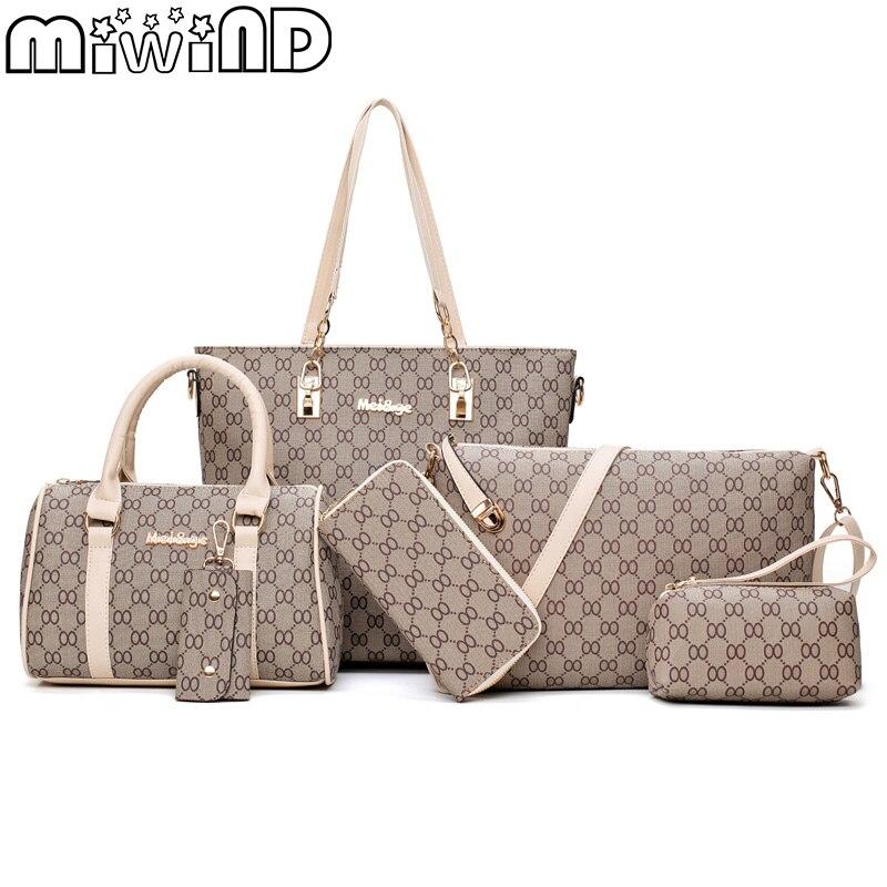 2017 New Women Shoulder Bags PU Leather Handbags Fashion Female Purse High Quality Six-Piece Set Designer Brand Bolsa Feminina