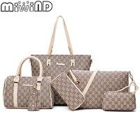2018 New Women Shoulder Bags PU Leather Handbags Fashion Female Purse High Quality Six Piece Set