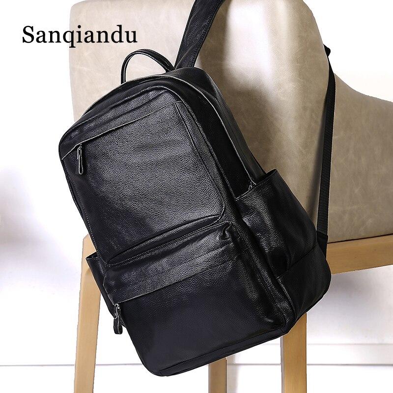 Sanqiandu hommes sac à dos de haute qualité en cuir véritable 15.6 pouces sac à dos homme mode tendance jeunesse loisirs voyage ordinateur sac