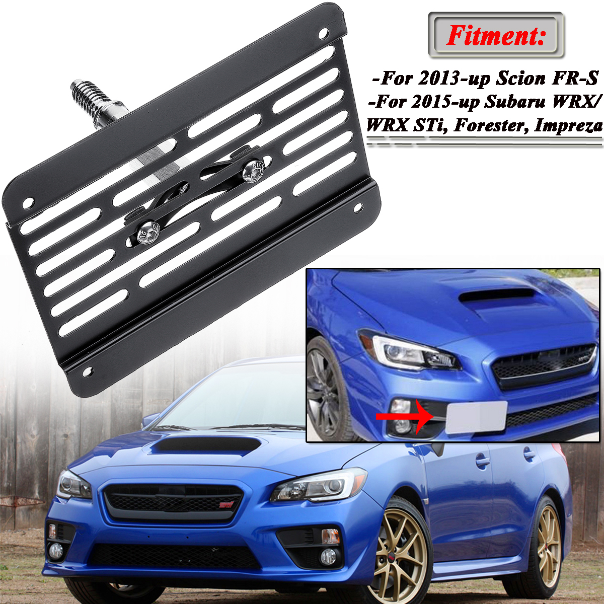 New Front Bumper Tow Hook License Plate Frame Holder Relocator Mounting Bracket For Subaru WRX STI 2015-up Scion FR-S 2013-up