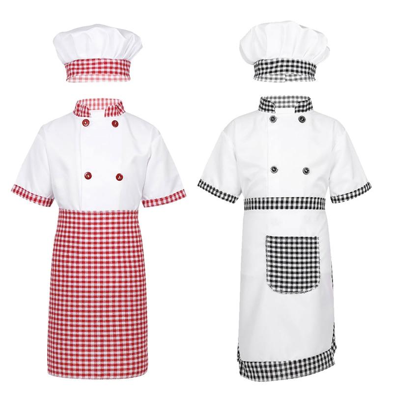 Children Unisex Chef Uniform Kids Boys Girls Chef Jacket with Apron Hat Kitchen Cook Cosplay Party Halloween Costume Set 1