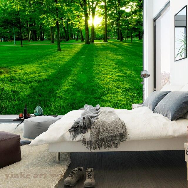 Custom 3D Foto Behang Natuur Landschap boom gazon Hoge Kwaliteit ...