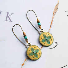 Купить с кэшбэком Vintage brass color long hook earrings for women Ethnic acrylic alloy round dangle earring Charm jewelry 2019