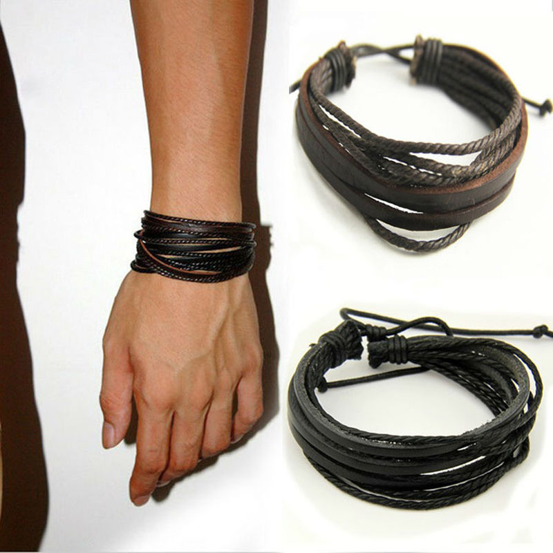 Leather Wrap Charm Bracelet: Fashion Brown Black Handmade Leather Braided Surfer Mens