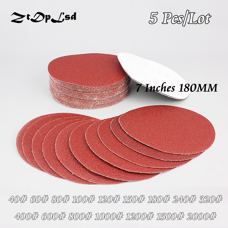 ZtDpLsd 5 Pcs/lot Dry Grinding 7 Inches 180MM Paper Flocking Sandpaper Pad Sanding Disc Woodworking Electric Grinder Accessories