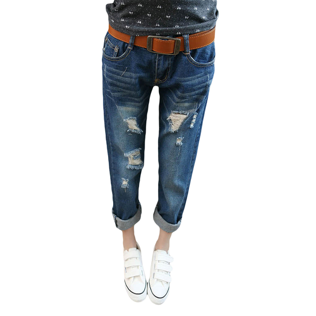 Hot Sale Korean Style Women Hole Ripped Jeans Loose Plus Size Harem Pants Spring&Summer Low-waist Ankle-length Femme Denim Pants