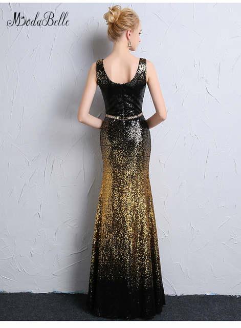 b111ba7ad9f0a modabelle Gradient Mermaid Black Gold Sequin Prom Dresses Black Girls  Elegant Vestidos De Gala African Evening Dress Blue 2018