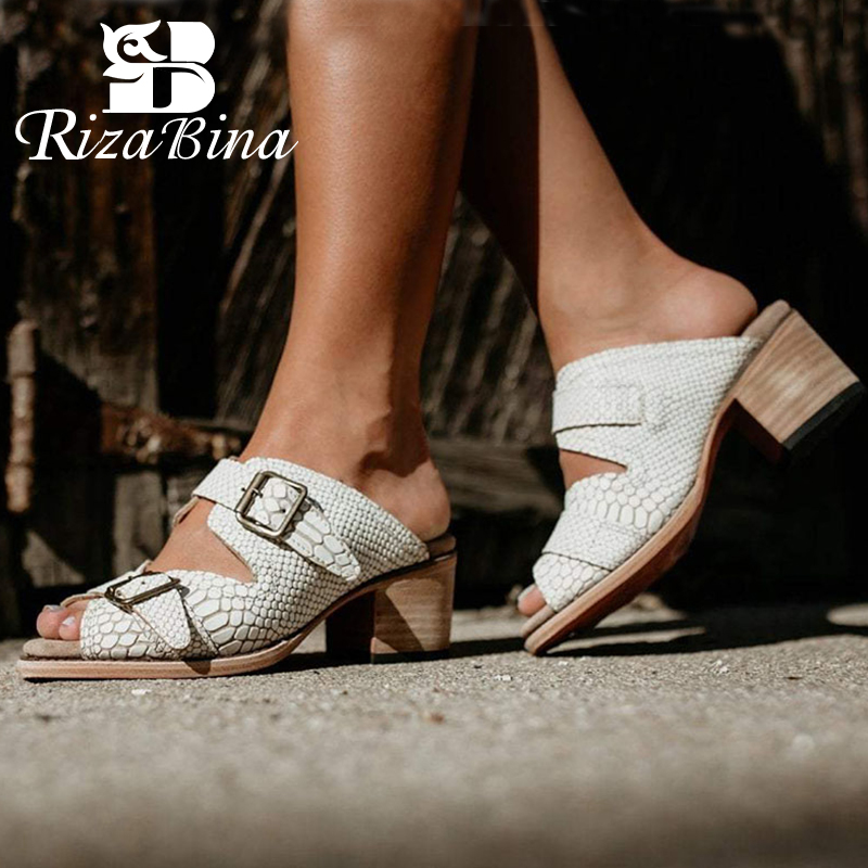 RIZABINA New Fashion Women Sandals Buckle High Heel Summer Slippers Outdoor Shoes Women Daily Party Footwear Size 34-47