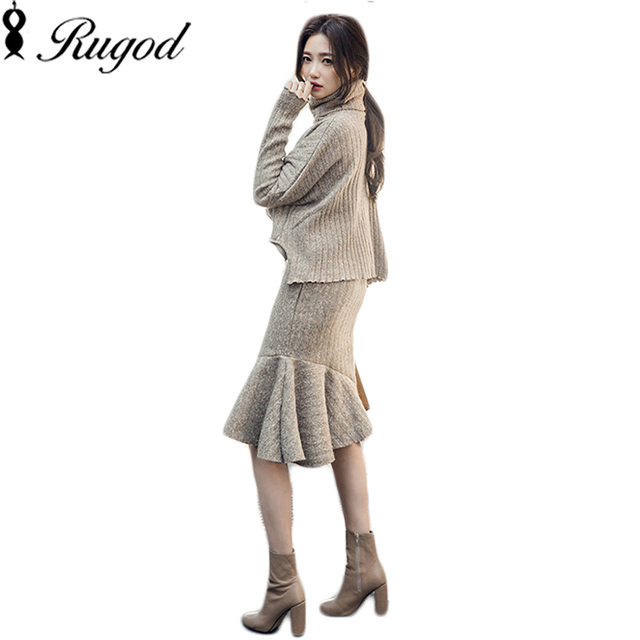 Rugod Mermaid Dress 2 Piece Set Ruffle Women Knitted Sweater Dresses High Neck Ladies Long Sleeve Knitwear Elegant Suit Vestidos