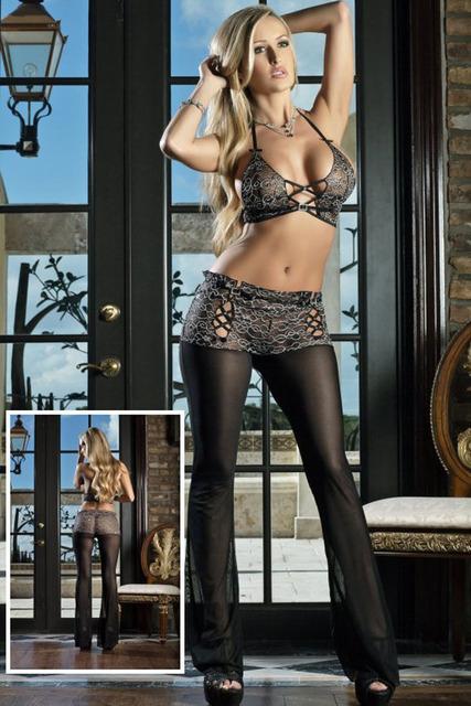 2016 Nueva Moda Sexy Mamelucos Womens 2 Unids Largo Jumpsuit Sexy Pasión Lace Patchwork Pantalón Ajustado R70232