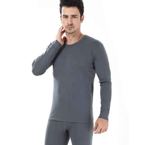 55c466822c7 2018 New Winter Style Mens Thicken 2pc Long Johns 100% COTTON Warmer Thermal  Underwear Set
