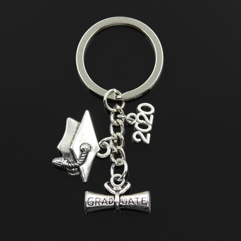 Fashion 30mm Key Chain Keychain Jewelry Silver Color Graduate Diploma Graduation Cap 2018 2019 2020 Pendant