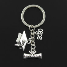 Fashion 30mm Key Chain Keychain Jewelry Silver graduate diploma graduation cap 2018 2019 2020 Pendant(China)