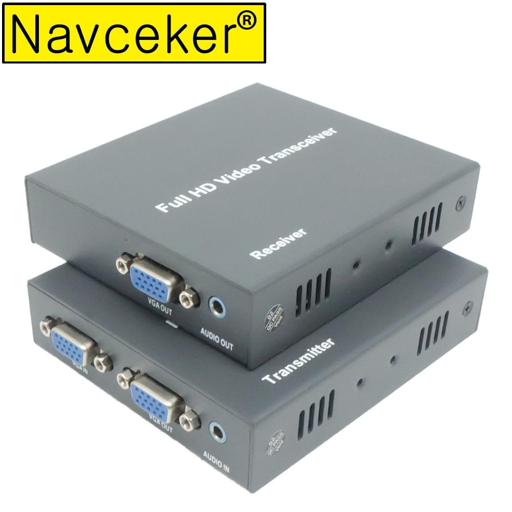DT215V 660ft réseau VGA sur IP amplificateur de répartiteur Audio par Ethernet Cat5e Cat6 câble 1080 P VGA LAN récepteur émetteur vidéo