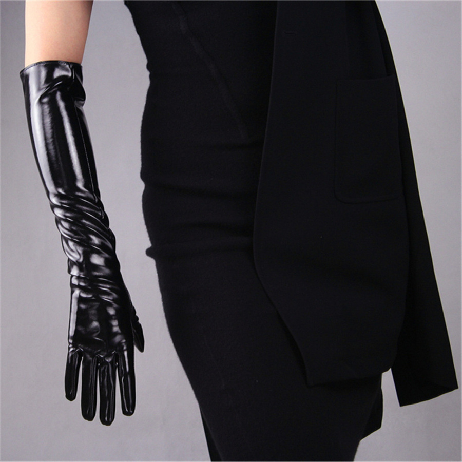 Ms Fashion Gloves Long patent leather 50cm Black Classic Retro French Elegant Lined 3 TB12 in Women 39 s Gloves from Apparel Accessories