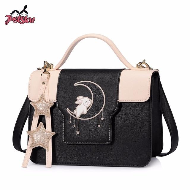 Just Star Women S Pu Leather Handbags Las Cartoon Sleeping Rabbit Tote Bag Female Tassel Flap