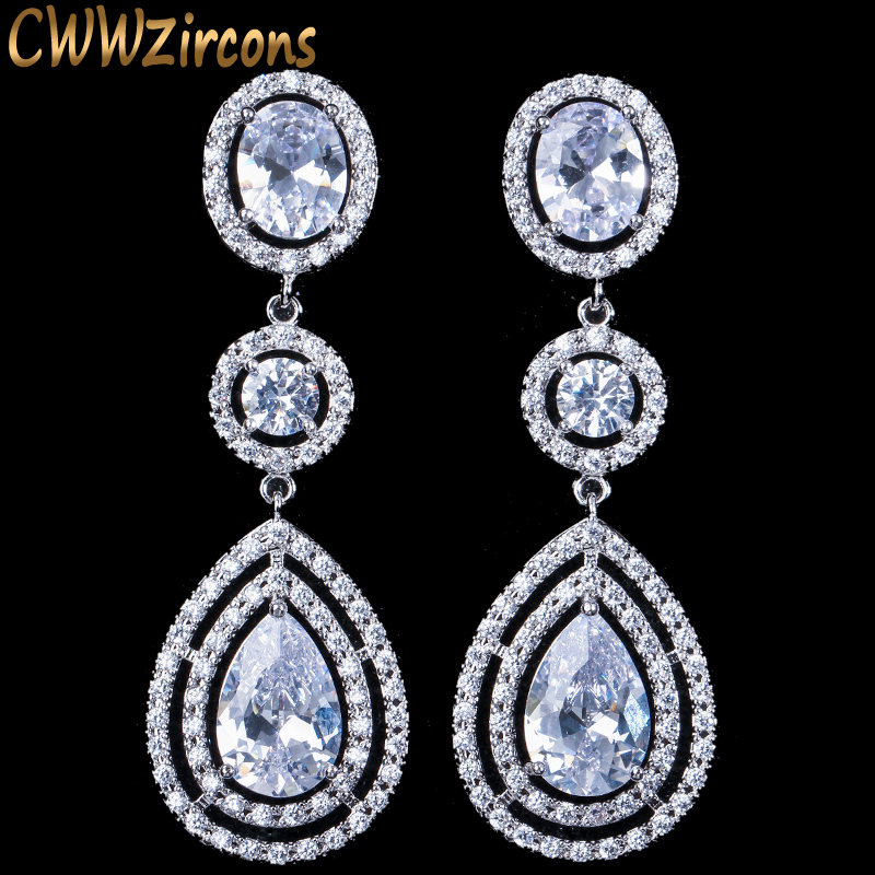 CWWZircons Super Luxus Damen Modeschmuck Micro Full Round CZ Crystal Dangling Long Drop Ohrringe für Damen CZ159