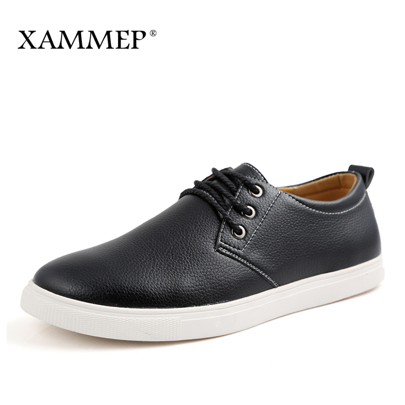 купить Brand Men Shoes Men Casual Shoes Flats Slip On Men Sneakers Genuine Split Leather Plus Big Size Spring Autumn Xammep по цене 2237.68 рублей