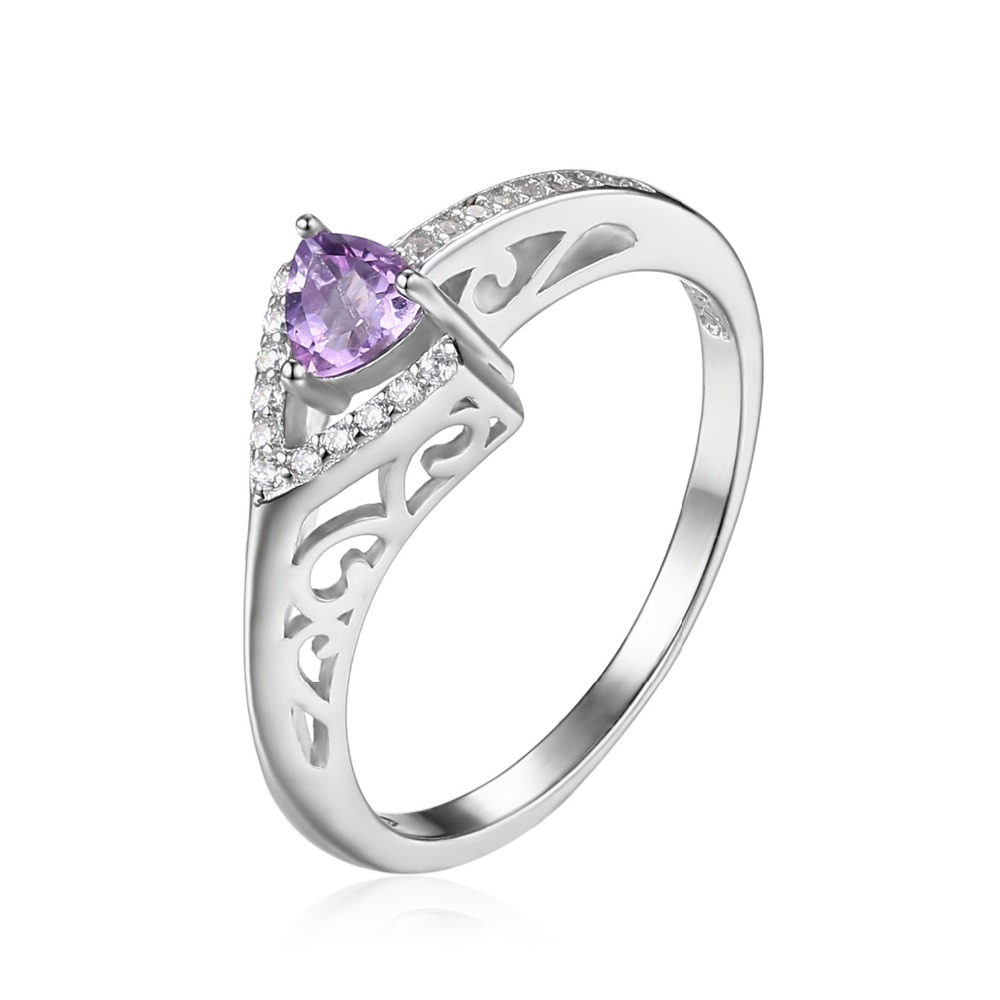 Jewelrypalace Fashion 029ct Triangle Natural Amethyst Engagement Rings For  Women 100% 925 Sterling Silver