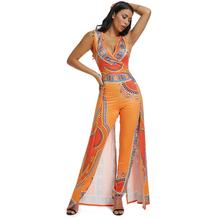 High stretch African womens jumpsuit features printed orange ethnic style fashion sexy blue black