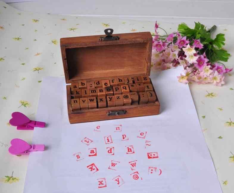 100 шт Винтаж DIY Многоцелевой сценариев строчные буквы алфавита украшения дерева резиновые штампы установить деревянный ящик SN154