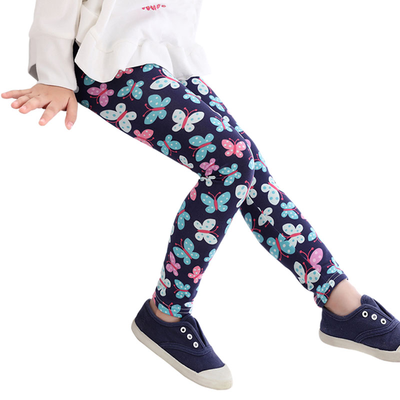 ace85621bec0 High quality Girls Pants Autumn Baby Leggings Colorful Print Flower  Butterfly Classic Children Pants