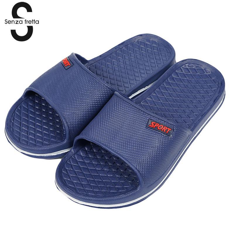 Senza Fretta Mens Slip On Sport Slide Sandals Flip Flop Shower Shoes Slippers House Pool Gym Sandal Slippers Men Shoes WS060